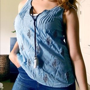 Periwinkle floral embroidered tank with tassels